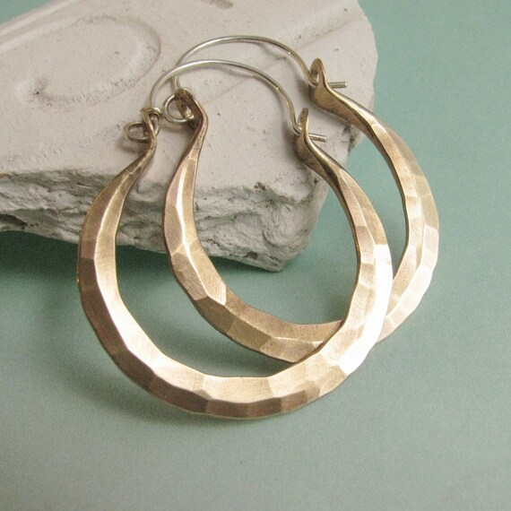 Hammered Brass Hoops, Sterling Silver And Brass Earrings, Mixed Metal Hoops, Metalsmithed Hoop Earrings, Brass Hoops, Forged Earrings