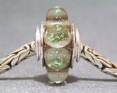 Gold Glitter Dot Bead Handmade European Charm Lampwork Bracelet Bead Champagne Sparkle