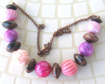Chunky Mixed Pink Beads Lucite, Stone, Wood, and Clay Beads on Antique Copper Chain Necklace