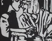 Tea III  - original woodblock print