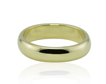 Men's Wedding Band - Shiny, Comfort fit, All Hand-Made in 14k Yellow Gold - LS522