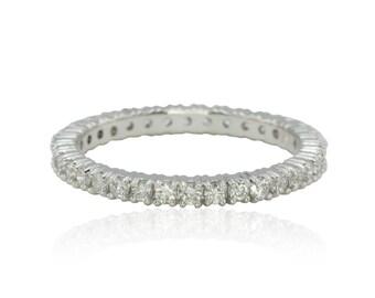 Eternity Band, 4 Prong Set Diamond Eternity Wedding Band in White Gold - LS4318