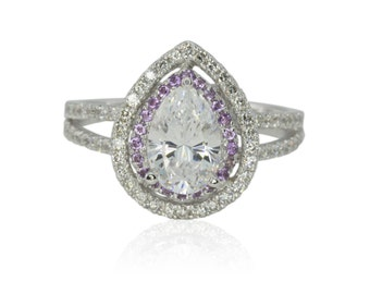 Pear Shaped Engagement Ring, Pear Cut CZ Engagement Ring with Amethyst Halo and Diamond Split Shank - LS4304