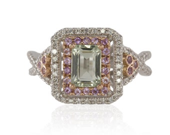 Engagement Ring, Prasiolite and Amethyst Engagement Ring with Double Halo and Diamond Accent Stones - LS4384