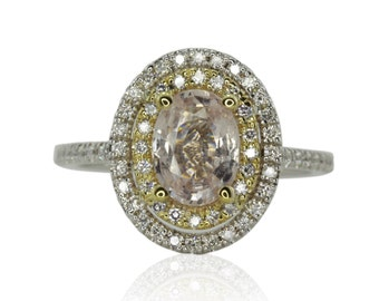 Engagement Ring, Yellow and White Gold Double Diamond Halo Ring with Oval Pink Sapphire Center Stone - Melody Collection - LS4388