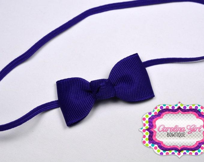 Purple Newborn Headband - Small Headband withTiny Bow on Skinny Elastic - Girls Hair Bows