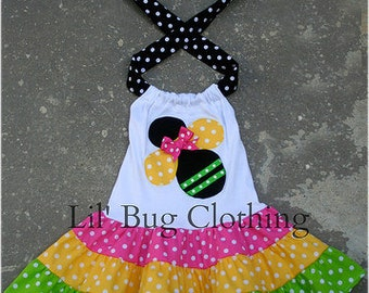 Custom Boutique Clothing Bumble Bee Tiered Dress Birthday Girl Dots