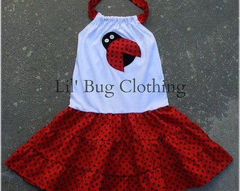 Ladybug Tiered Dress, Ladybug Summer Dress, Ladybug Birthday Outfit Dress, Red Black Polka Dot Ladybug Dress, Custom Boutique Clothing Girl