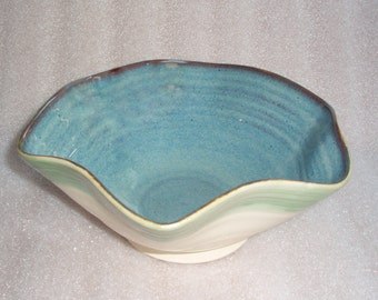 Wheel Thrown and Altered Pottery Bowl Flared Hexagon Shape with Blue Inside and White Outside with a Green Stripe