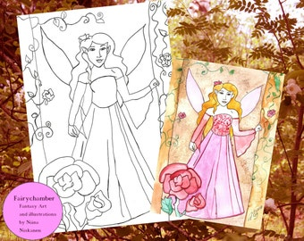 Digital Stamp Lavender Rose Fairy Instant Download Coloring book page Fairy Illustration Fairy Drawing Fantasy art by Niina Niskanen