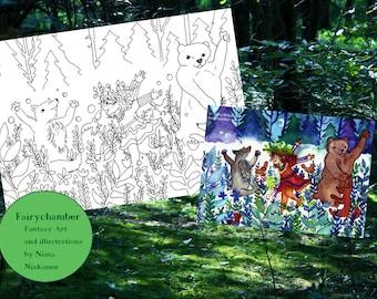 Forest Dance Digital Stamp Instant Download Coloring Page Fantasy Line Art Joy Happiness Animals Mythology Nature Printable Illustration