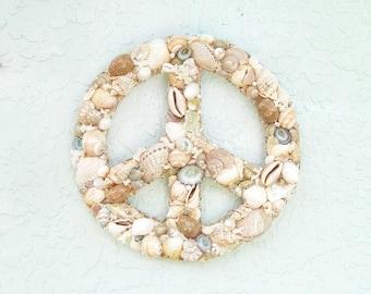 Peace Sign Wreath Seashells Tan Aqua Blue and White Wall Hanging Coastal Decor Wall Art