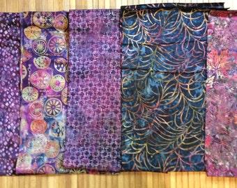 Batik Fabric Bundle FIVE One yard Pieces Robert Kaufman