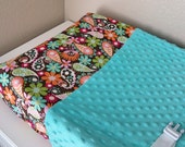 Luxuriously soft changing pad cover in sea green minky and chocolate floral paisley