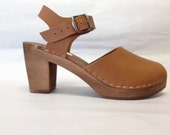 Honey brown oiled Dalanna Super High Heel with buckle ankle strap