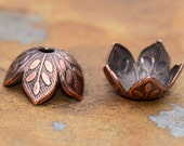 4 Antique Copper 8mm Etched Daisy Petal Bead Caps - 2 pairs  - Nunn Designs