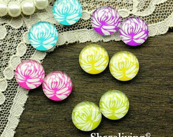10pcs 12mm Mixed Handmade Photo Glass Cabochon (Flower) -- MCH017Z