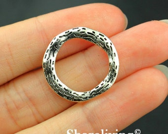 8pcs Ring Charms, Antique Silver Circle Pendant Irregular - MAS105