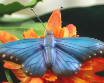 Wood Carving Pin of a Blue Morpho Butterfly