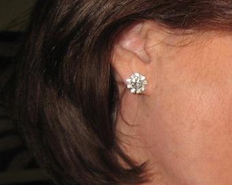 Crystal Rhinestone Earrings - Crystal Flower Stud Earrings - Rhinestone Flower Earrings - Bridal Earrings - Wedding Earrings by JaniceMarie