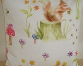 "16x16 Pillow Cover Spring Watercolour Scene Red Squirrel Case Sham Slip 16"" Cushion Cover Pillowcase 16""x16"" Decorative Children's Squirrels"