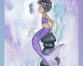 Curls Mermaid Print from Original Watercolor Painting by Camille Grimshaw