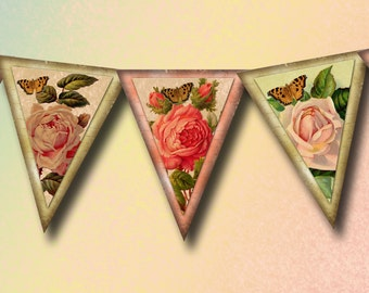 Country Cottage RoSES Banner-Lovely Double Layer Pennants-2 Printable Collage Sheet JPG Digital File-Create Your Own Banner-BuY 1 GeT 1 FREE
