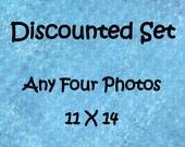 Discounted photo set, Set of 4 prints, 11x14 photo set, 11x14 print set, 4 photo set, custom photo set, sale photo set, discounted art