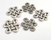 Celtic knot links, Tierracast silverplated fine pewter multihole eternity charms, 5 pcs
