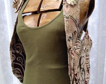 Cream steampunk holster vest - womens shoulder holster - recycled fabric shoulder holster bag - Burning Man pocket vest - Medium Narrow