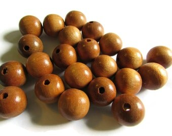 15mm Round Wood Beads Vintage Beads Wooden Beads