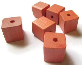 8 19mm Orange Wood Beads Cube Beads Wooden Beads Vintage Wood Beads Big Wood Beads Wood Grain Beads Square Beads Large Beads Chunky Beads