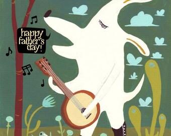 Banjo Father's Day White Dog Card - Happy Father's Day - Singing White Lab Art - Music Folk Bluegrass