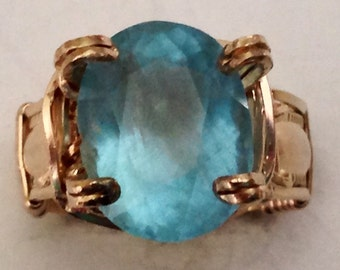 Aquamarine and gold filled ring
