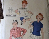 Vintage Sewing Pattern Butterick 7602  Quick and Easy Boys and Girls' Sport Shirt  Size 10 COMPLETE