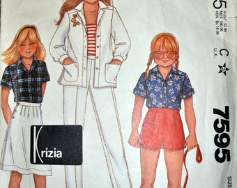 Sewing Pattern McCall's 7595 Girl's Shirt, Shorts, and Pants Size 12 Complete