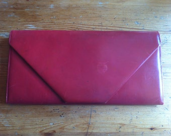 """vintage red clutch lots of slots bought in the UK 13"""" by 7"""""""