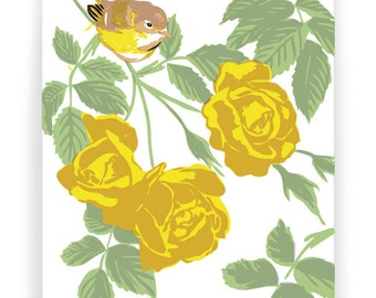 Vireo and Yellow Roses Boxed Set of 8 Cards