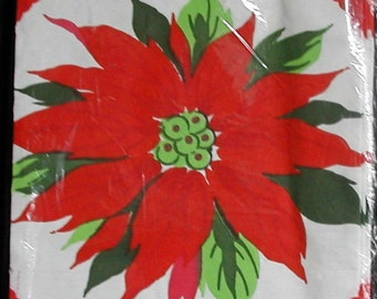 Original 1950s Crepe Paper Christmas Tablecloth Red Christmas Poinsettia MIP