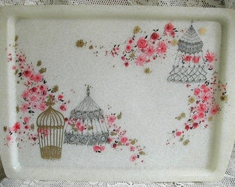 Beautiful Cottage Chic Fiberglass Tray Pink Roses Flowers Birdcages Great Detail Colors