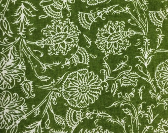 Cream floral on green fabric - 35 inches x 43 inches