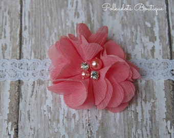 Coral Flower Newborn Headband Infant Preemie Headband Newborn Headband Preemie Lace Headband Coral Shabby Chic Headband