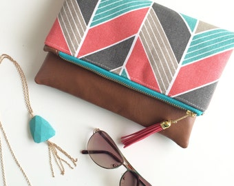 Vegan Tassel Clutch - Turquoise and Coral Chevron Clutch - Foldover Zipper and Handbag - Cobalt Blue and Gold Zipper - Tan Faux Leather