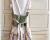 Hostess Full apron, MARKED DOWN 12 dollars,Tunic, bibbed back, tami Lyn gift, Sage green, neutrals, One of a Kind