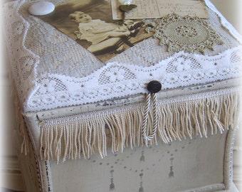 Wedding Card Box HOPE CHEST, Shabby Chic treasure box, hand painted, card box old photo, antique bonnet, antique perfume vial