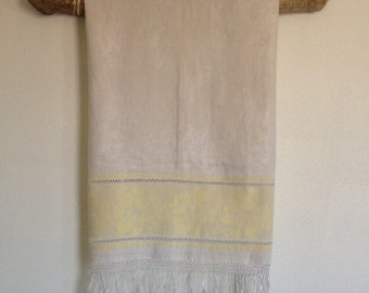 Vintage Linen Cloth,  Antique White and Yellow Damask Linen Cloth