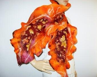 FELTED SCARF Fall Leaf Orange Red Colors Soft Merino Wool Neckwarmer