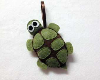 Turtle Ornament, Felt Animal Ornament, Christmas Ornament, Bellini the Turtle - Made to Order, Christmas Decoration