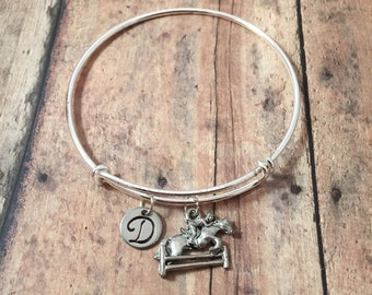 Horse charm bracelet - horse jewelry, gift for horse lover, equestrian jewelry, horse riding jewelry, horse bangle, silver horse bracelet