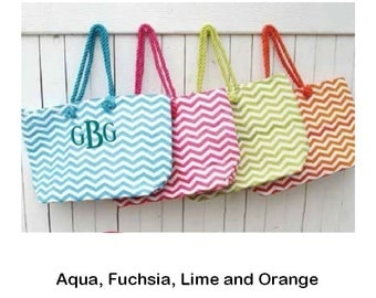 Monogrammed Beach Tote in Chevron Pattern